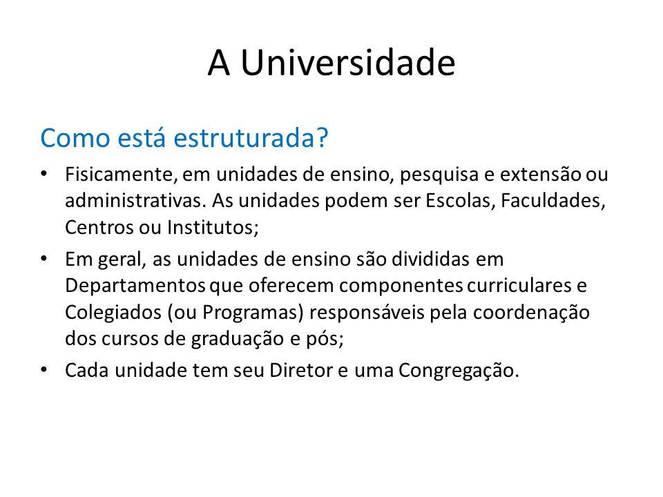 A Universidade Como está estruturada? Fisicamente, em unidades de ensino, pesquisa e extensão ou administrativas. As unidades podem ser Escolas, Facul