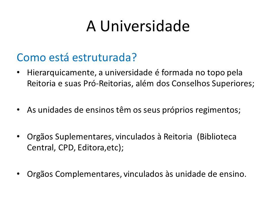 A Universidade Como está estruturada? Hierarquicamente, a universidade é formada no topo pela Reitoria e suas Pró-Reitorias, além dos Conselhos Superi