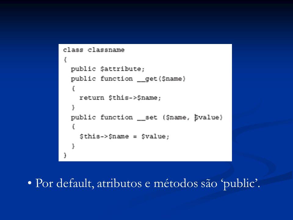 Por default, atributos e métodos são public.
