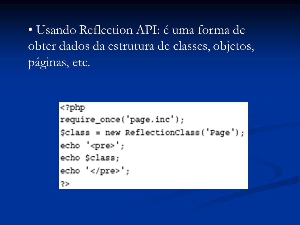 Usando Reflection API: é uma forma de obter dados da estrutura de classes, objetos, páginas, etc.