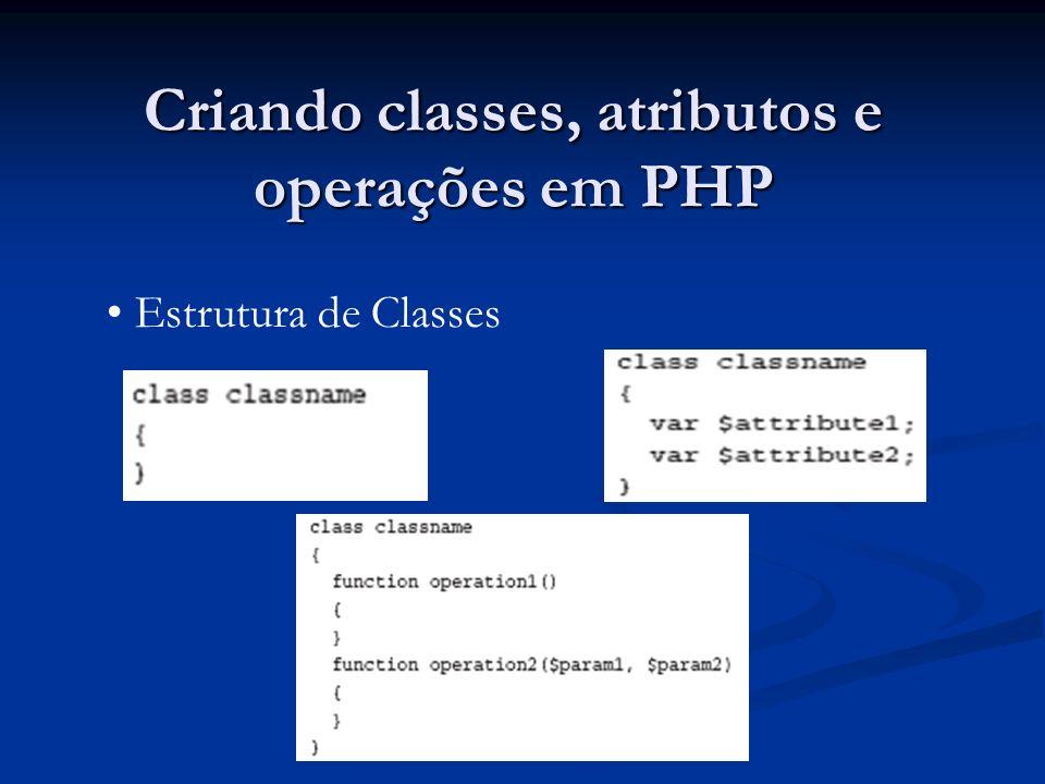 Criando classes, atributos e operações em PHP Estrutura de Classes