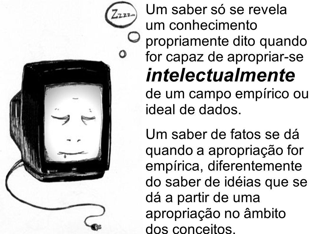 Um saber só se revela um conhecimento propriamente dito quando for capaz de apropriar-se intelectualmente de um campo empírico ou ideal de dados. Um s