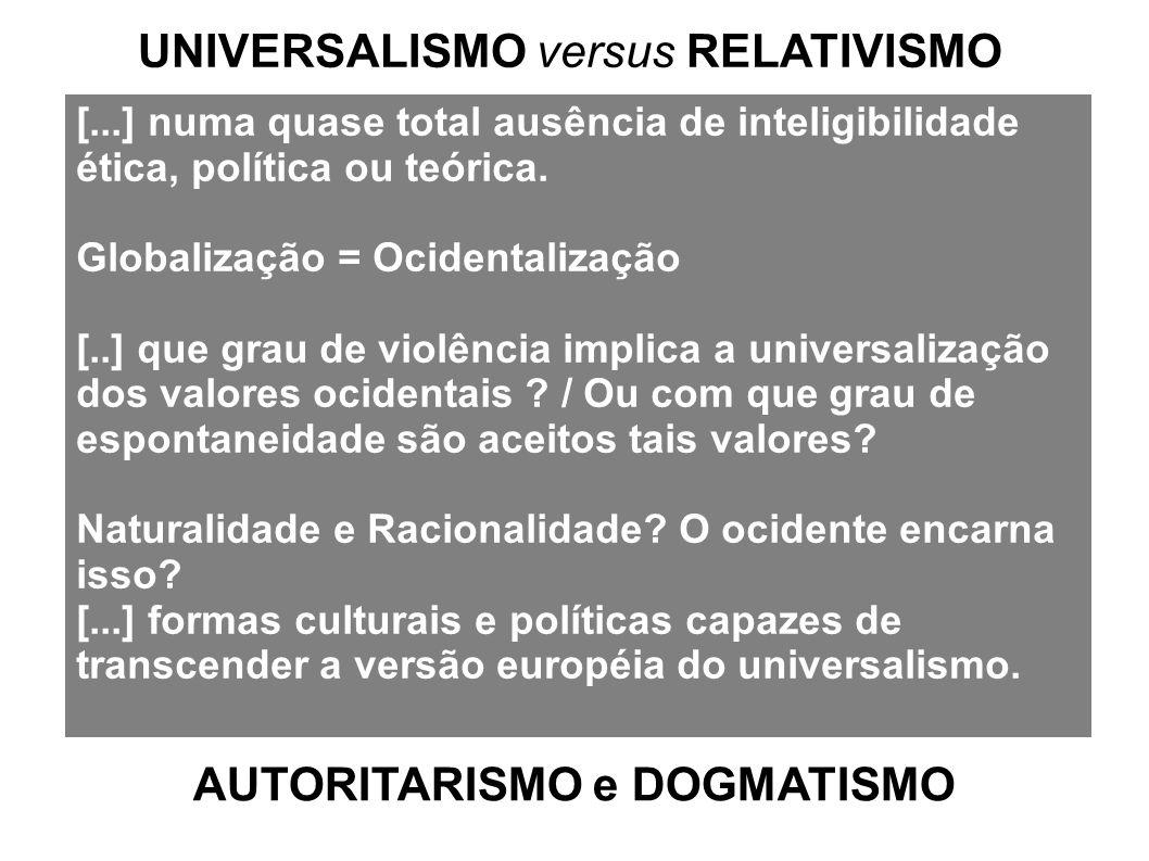[...] numa quase total ausência de inteligibilidade ética, política ou teórica. Globalização = Ocidentalização [..] que grau de violência implica a un
