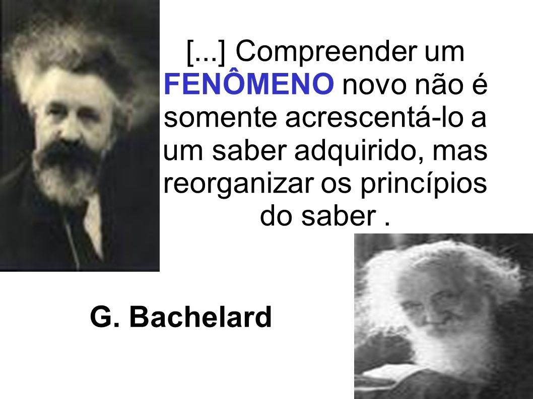 [...] Compreender um FENÔMENO novo não é somente acrescentá-lo a um saber adquirido, mas reorganizar os princípios do saber. G. Bachelard