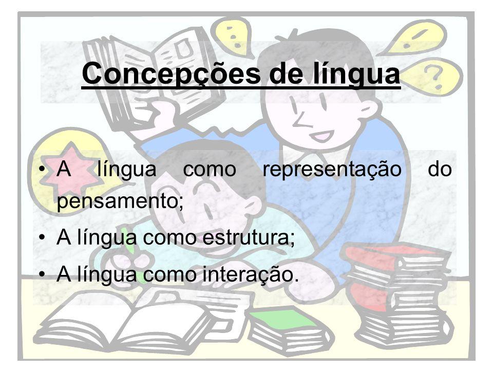 Concepções de sujeito/texto/leitura Sujeito dono de suas vontades/ texto como produto lógico/ leitura como captação das ideias do autor.