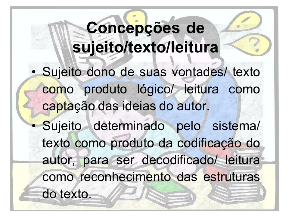 Concepções de sujeito/texto/leitura Sujeitos ativos que ao mesmo tempo que se constroem, constroem o sentido do texto/ texto como lugar da interação, como lugar de produção de sentidos/ leitura como atividade interativa e de mobilização de conhecimentos prévios.