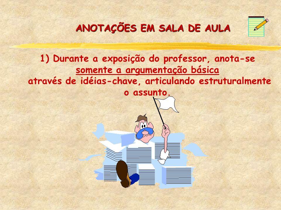 1) Durante a exposição do professor, anota-se somente a argumentação básica através de idéias-chave, articulando estruturalmente o assunto. ANOTAÇÕES
