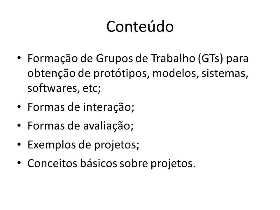 Definição Projetos Levantamento de habilidades pré-existentes; Interdisciplinaridades; Formação dos grupos (máximo de 6 componentes); Concepção e planejamento das atividades; Fontes de informação; Metodologia de trabalho.