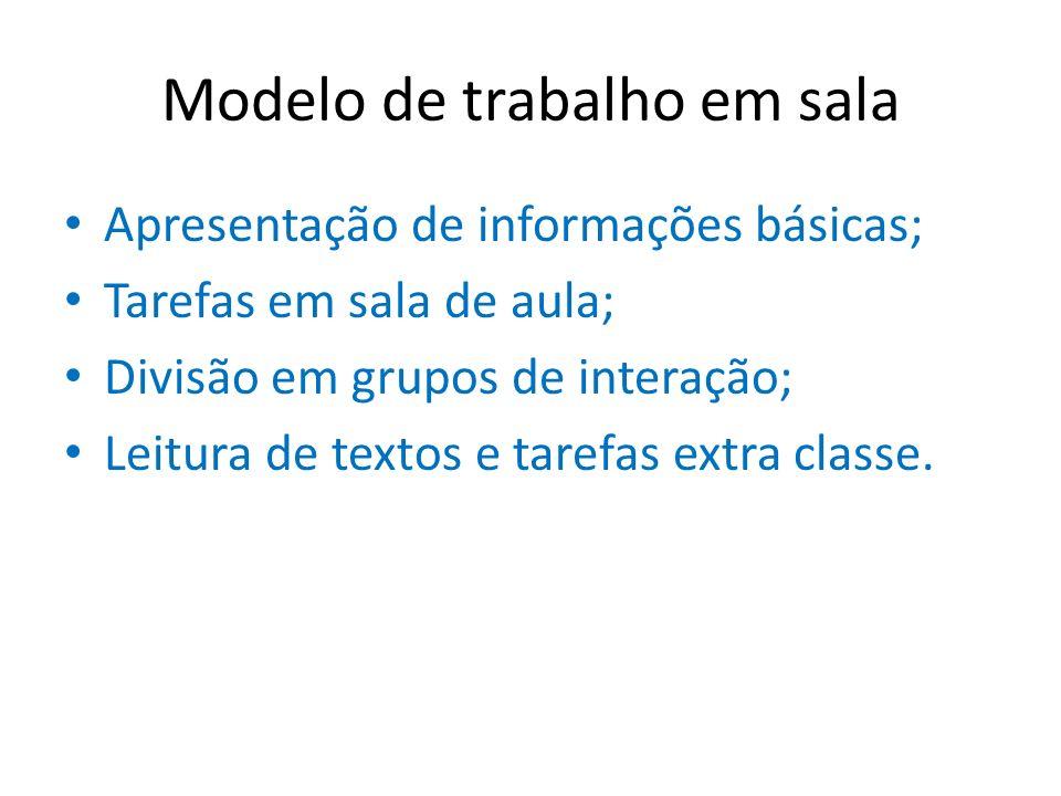Modelo de trabalho em sala Apresentação de informações básicas; Tarefas em sala de aula; Divisão em grupos de interação; Leitura de textos e tarefas e
