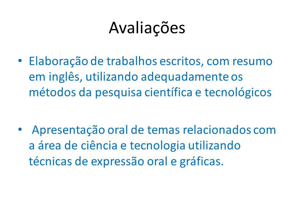 Avaliações Elaboração de trabalhos escritos, com resumo em inglês, utilizando adequadamente os métodos da pesquisa científica e tecnológicos Apresenta