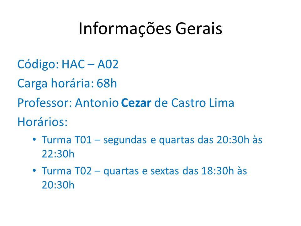 Informações Gerais Código: HAC – A02 Carga horária: 68h Professor: Antonio Cezar de Castro Lima Horários: Turma T01 – segundas e quartas das 20:30h às