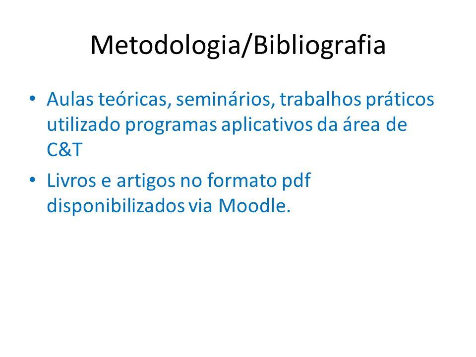 Metodologia/Bibliografia Aulas teóricas, seminários, trabalhos práticos utilizado programas aplicativos da área de C&T Livros e artigos no formato pdf