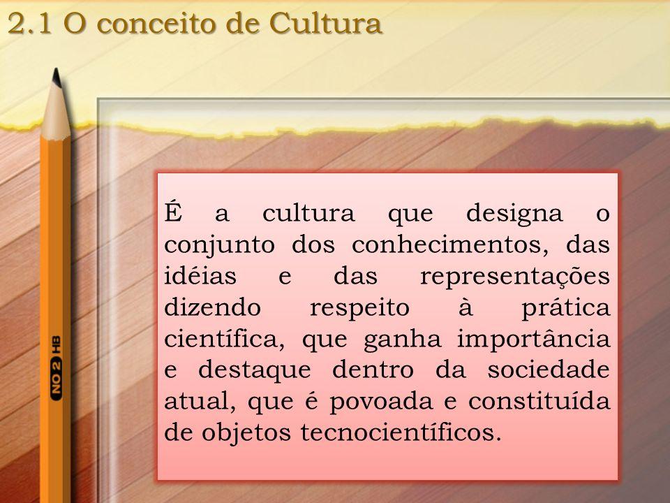 2.1 O conceito de Cultura É a cultura que designa o conjunto dos conhecimentos, das idéias e das representações dizendo respeito à prática científica,