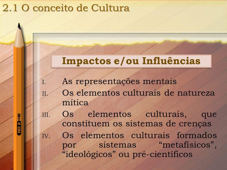 Impactos e/ou Influências I. As representações mentais II. Os elementos culturais de natureza mítica III. Os elementos culturais, que constituem os si