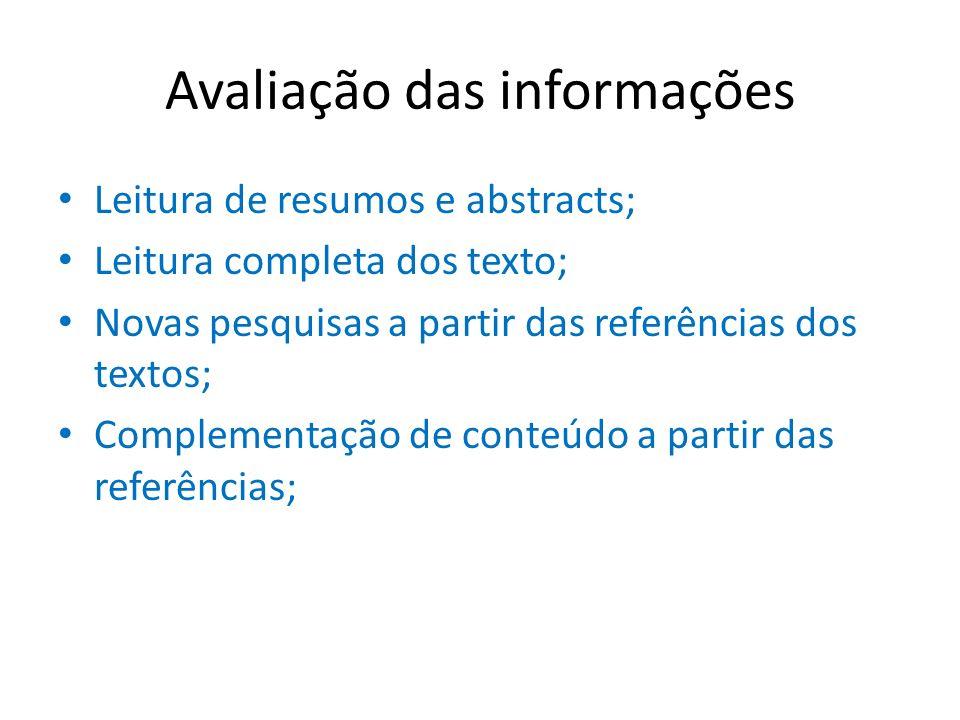 Avaliação das informações Leitura de resumos e abstracts; Leitura completa dos texto; Novas pesquisas a partir das referências dos textos; Complementa