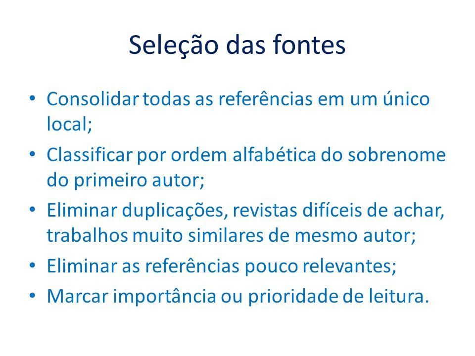 Seleção das fontes Consolidar todas as referências em um único local; Classificar por ordem alfabética do sobrenome do primeiro autor; Eliminar duplic