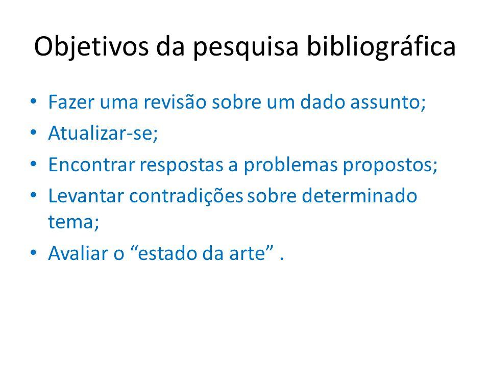 Objetivos da pesquisa bibliográfica Fazer uma revisão sobre um dado assunto; Atualizar-se; Encontrar respostas a problemas propostos; Levantar contrad