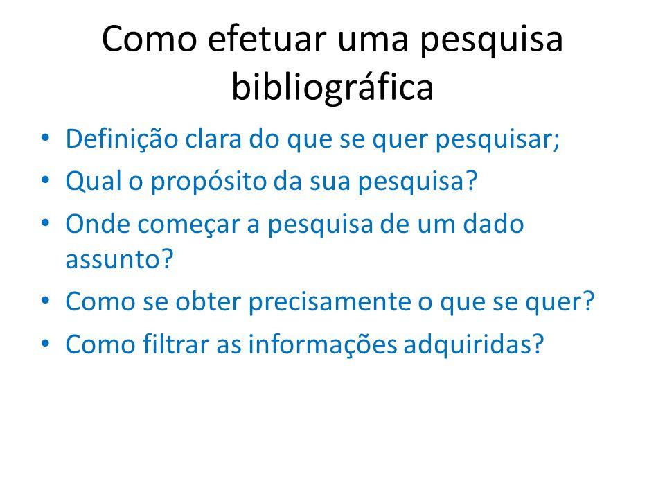 Como efetuar uma pesquisa bibliográfica Definição clara do que se quer pesquisar; Qual o propósito da sua pesquisa? Onde começar a pesquisa de um dado
