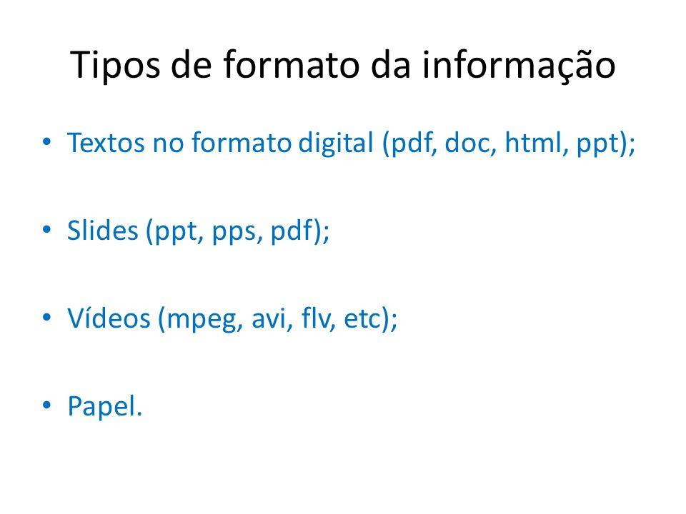 Tipos de formato da informação Textos no formato digital (pdf, doc, html, ppt); Slides (ppt, pps, pdf); Vídeos (mpeg, avi, flv, etc); Papel.