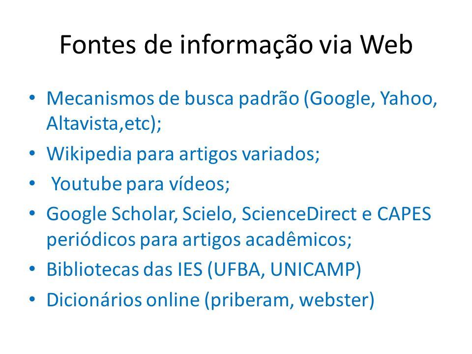 Fontes de informação via Web Mecanismos de busca padrão (Google, Yahoo, Altavista,etc); Wikipedia para artigos variados; Youtube para vídeos; Google S
