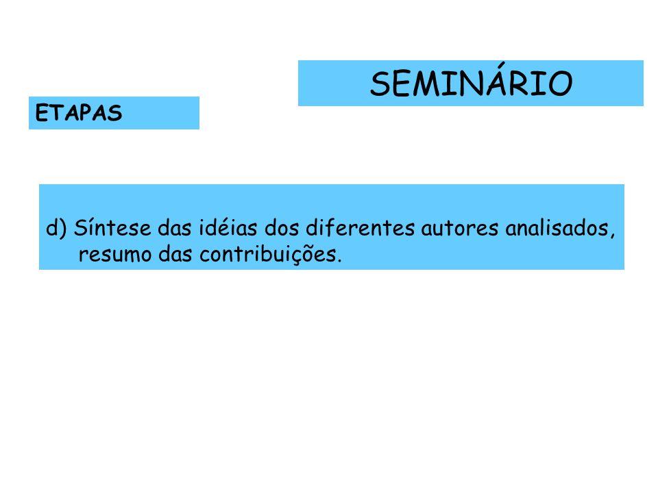 SEMINÁRIO ETAPAS d) Síntese das idéias dos diferentes autores analisados, resumo das contribuições.
