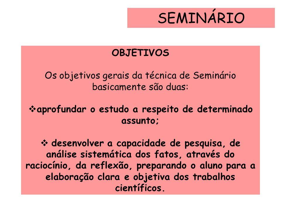 OBJETIVOS Os objetivos gerais da técnica de Seminário basicamente são duas: aprofundar o estudo a respeito de determinado assunto; desenvolver a capac