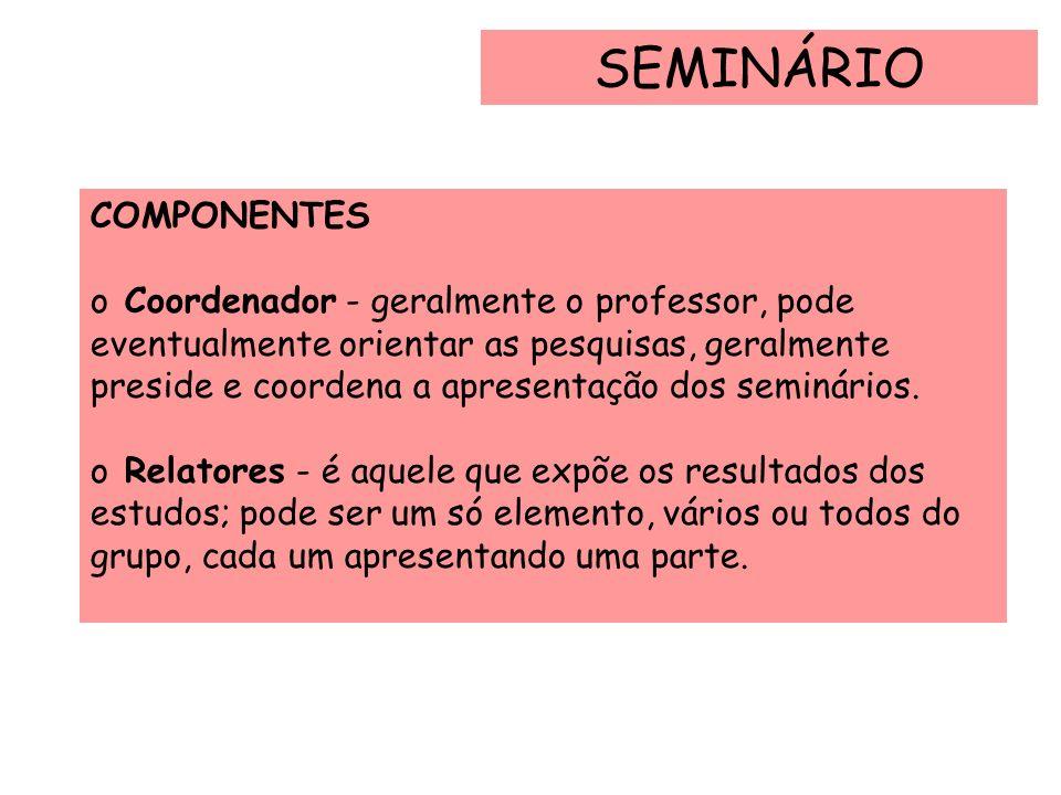 SEMINÁRIO DURAÇÃO O seminário, em geral, tem lugar no horário comum de aulas, podendo ter a duração de um ou vários dias, dependendo da extensão, profundidade dos estudos e disponibilidade de tempo.