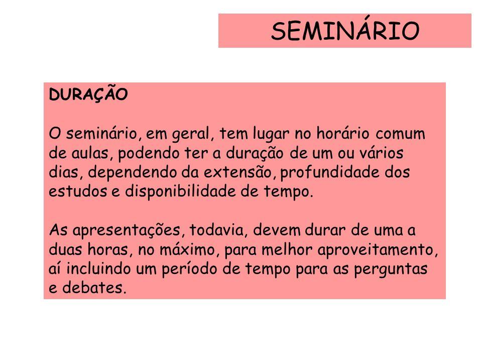 SEMINÁRIO DURAÇÃO O seminário, em geral, tem lugar no horário comum de aulas, podendo ter a duração de um ou vários dias, dependendo da extensão, prof
