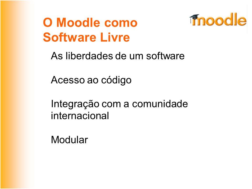 O Moodle como SL Rápido desenvolvimento Manter proximidade com a comunidade de desenvolvedores Ficar atento a novos releases e patches de correção