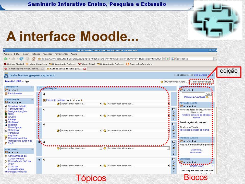 Tópicos Blocos A interface Moodle... edição