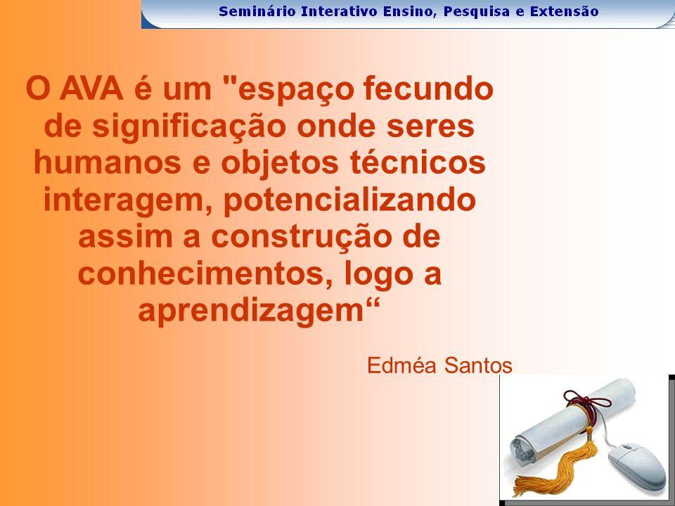 O AVA é um espaço fecundo de significação onde seres humanos e objetos técnicos interagem, potencializando assim a construção de conhecimentos, logo a aprendizagem Edméa Santos