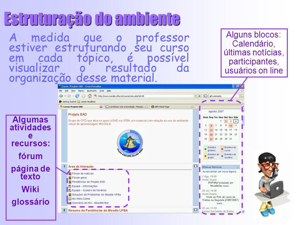 A medida que o professor estiver estruturando seu curso em cada tópico, é possível visualizar o resultado da organização desse material.