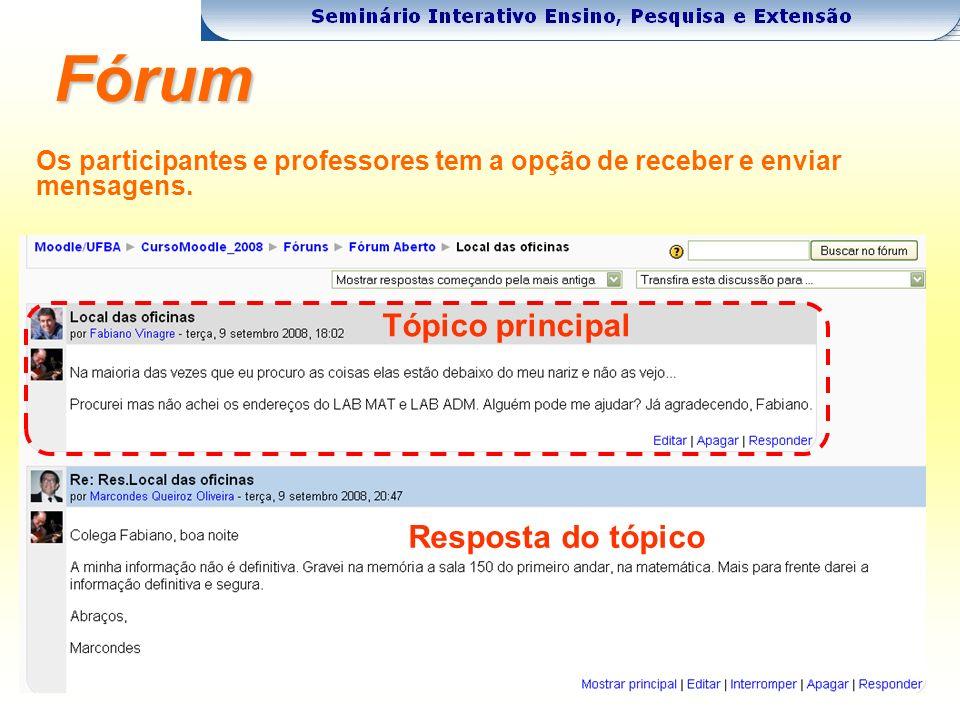 Fórum Os participantes e professores tem a opção de receber e enviar mensagens.