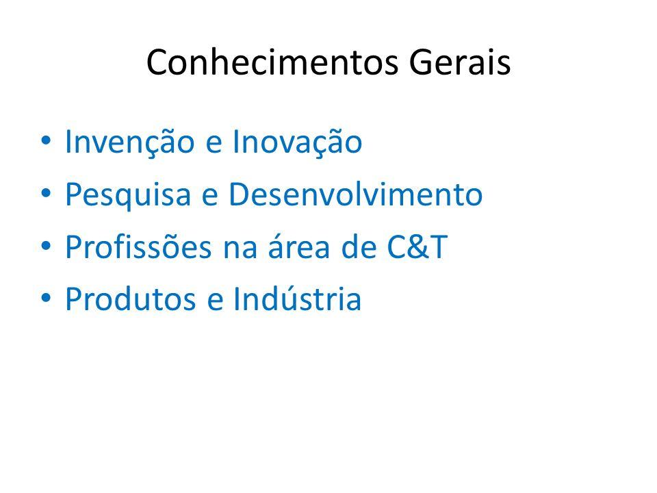 Conhecimentos Gerais Invenção e Inovação Pesquisa e Desenvolvimento Profissões na área de C&T Produtos e Indústria