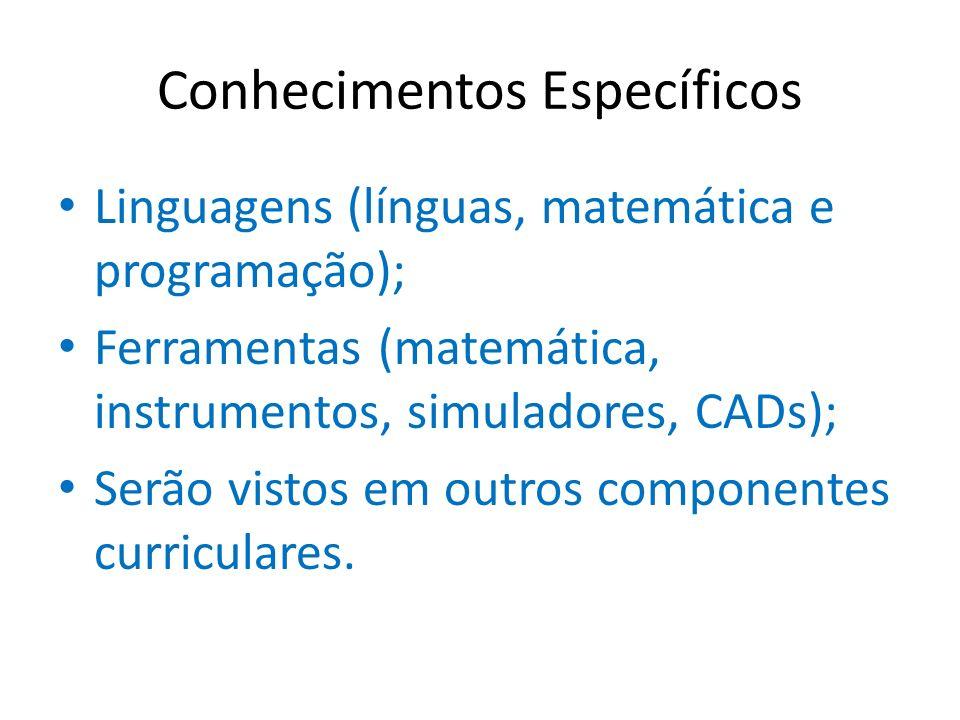 Conhecimentos Específicos Linguagens (línguas, matemática e programação); Ferramentas (matemática, instrumentos, simuladores, CADs); Serão vistos em o