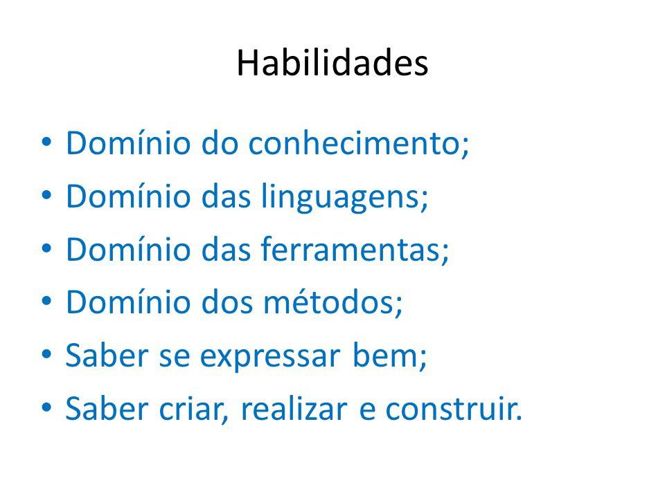 Habilidades Domínio do conhecimento; Domínio das linguagens; Domínio das ferramentas; Domínio dos métodos; Saber se expressar bem; Saber criar, realiz