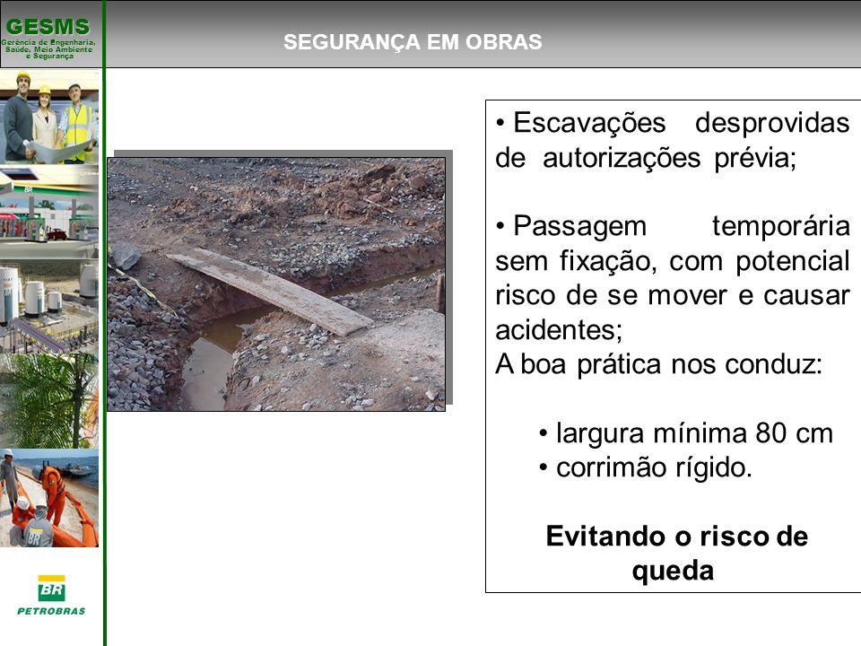 Gerência de Engenharia, Gerência de Engenharia, Saúde, Meio Ambiente e Segurança e Segurança GESMS Escavações desprovidas de autorizações prévia; Pass