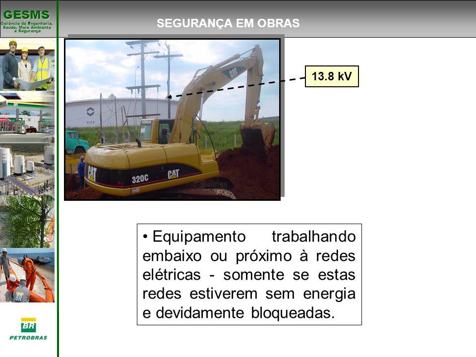 Gerência de Engenharia, Gerência de Engenharia, Saúde, Meio Ambiente e Segurança e Segurança GESMS 13.8 kV Equipamento trabalhando embaixo ou próximo