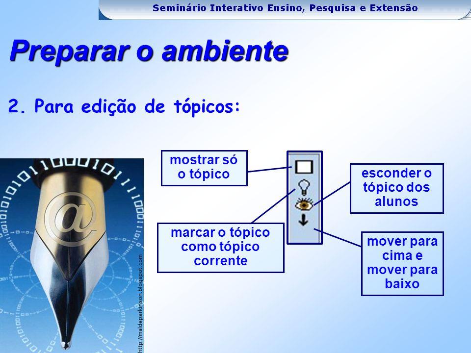 2. Para edição de tópicos: mostrar só o tópico marcar o tópico como tópico corrente esconder o tópico dos alunos mover para cima e mover para baixo Pr