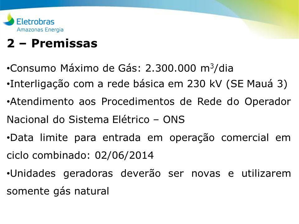 2 – Premissas Consumo Máximo de Gás: 2.300.000 m 3 /dia Interligação com a rede básica em 230 kV (SE Mauá 3) Atendimento aos Procedimentos de Rede do