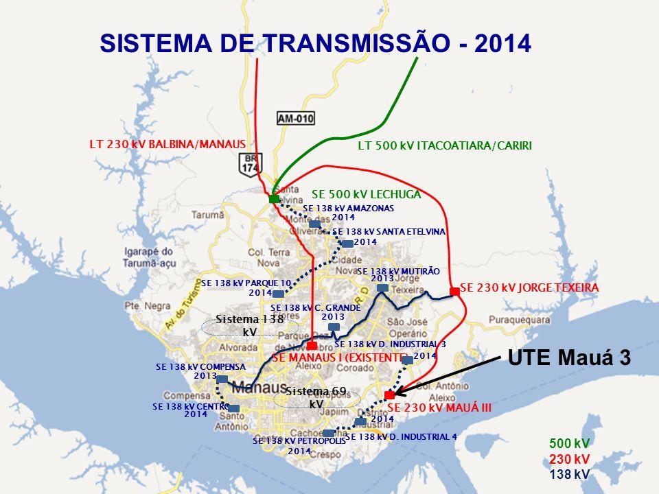 SE 500 kV LECHUGA LT 500 kV ITACOATIARA/CARIRI SE 230 kV JORGE TEXEIRA SE 138 kV MUTIRÃO SE 138 kV C. GRANDE SE 138 kV COMPENSA SE 230 kV MAUÁ III SE
