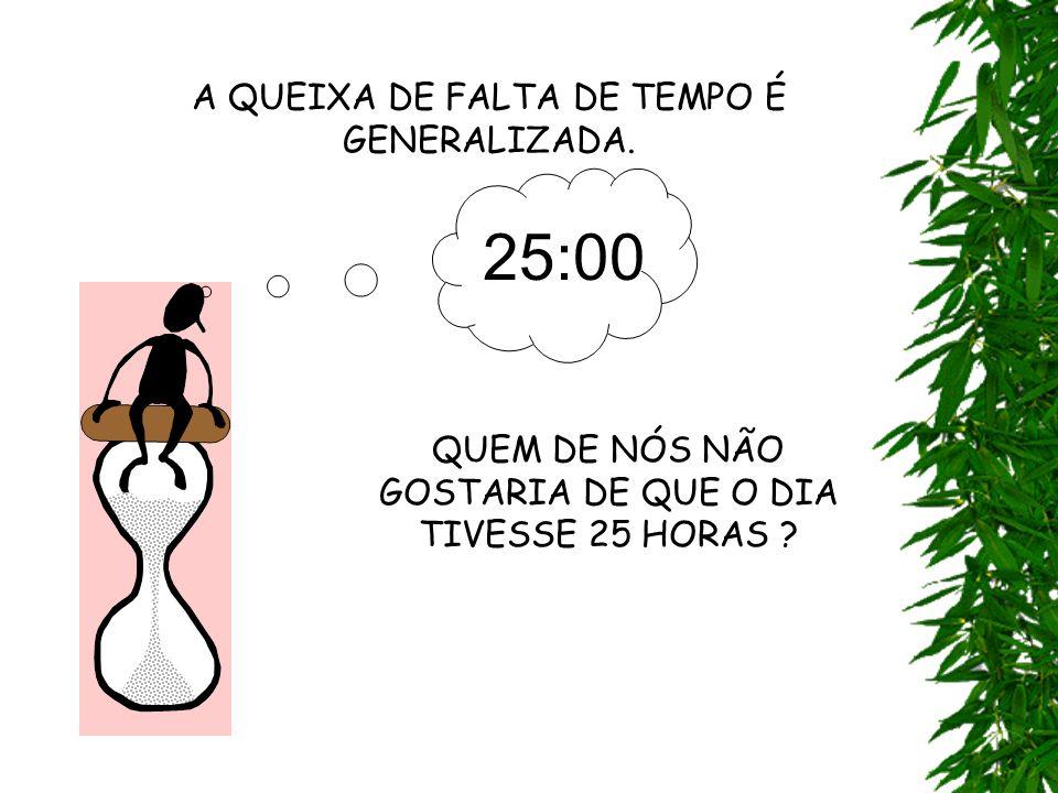 A QUEIXA DE FALTA DE TEMPO É GENERALIZADA.