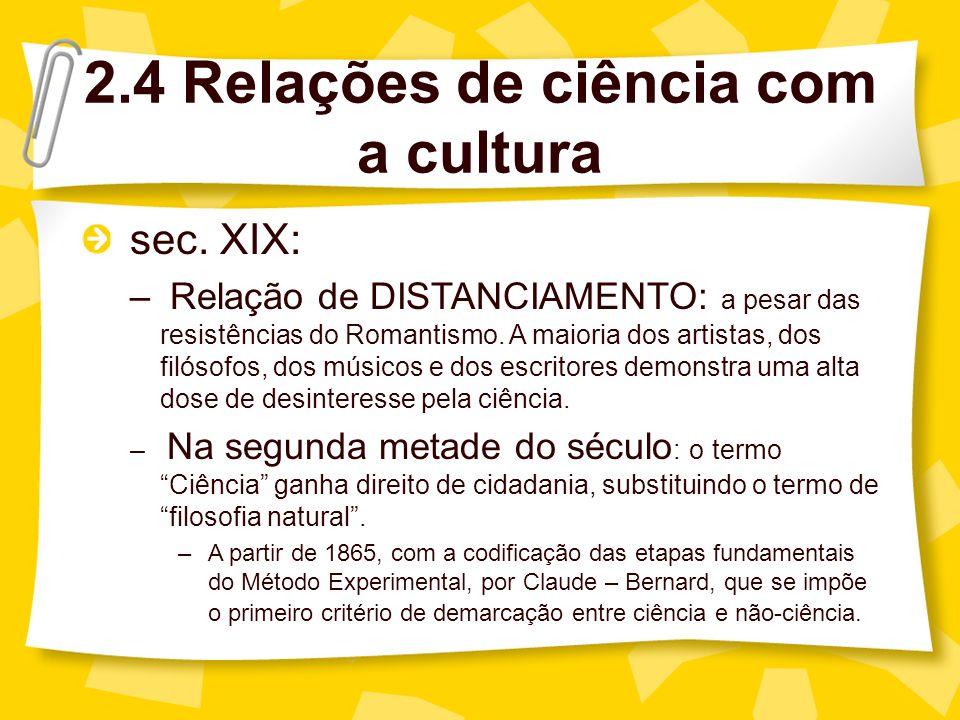 2.4 Relações de ciência com a cultura sec.