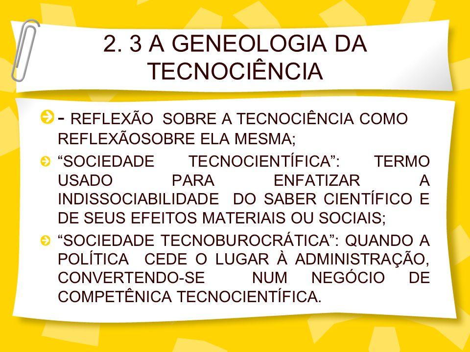 2. 3 A GENEOLOGIA DA TECNOCIÊNCIA - REFLEXÃO SOBRE A TECNOCIÊNCIA COMO REFLEXÃOSOBRE ELA MESMA; SOCIEDADE TECNOCIENTÍFICA: TERMO USADO PARA ENFATIZAR