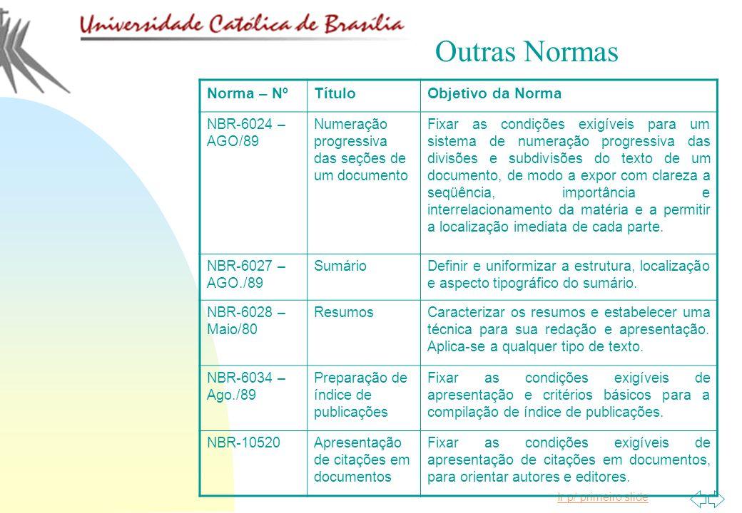 Ir p/ primeiro slide Norma – NºTítuloObjetivo da Norma NBR-6024 – AGO/89 Numeração progressiva das seções de um documento Fixar as condições exigíveis