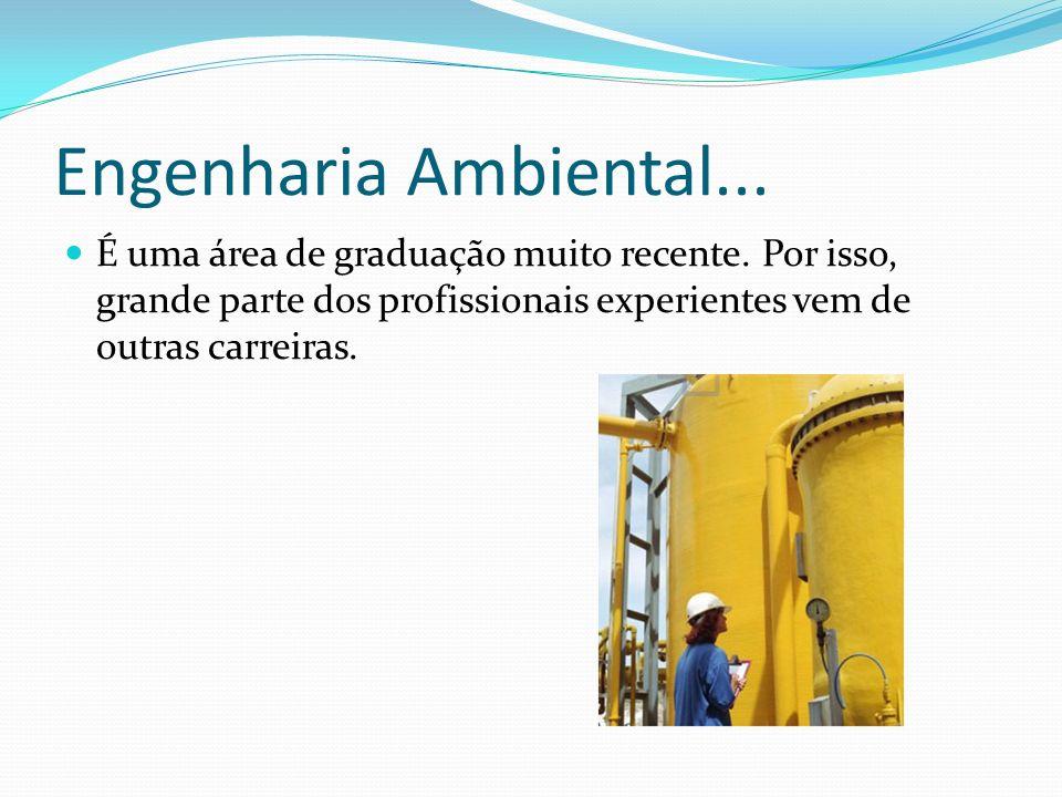 Engenharia Ambiental... É uma área de graduação muito recente. Por isso, grande parte dos profissionais experientes vem de outras carreiras.