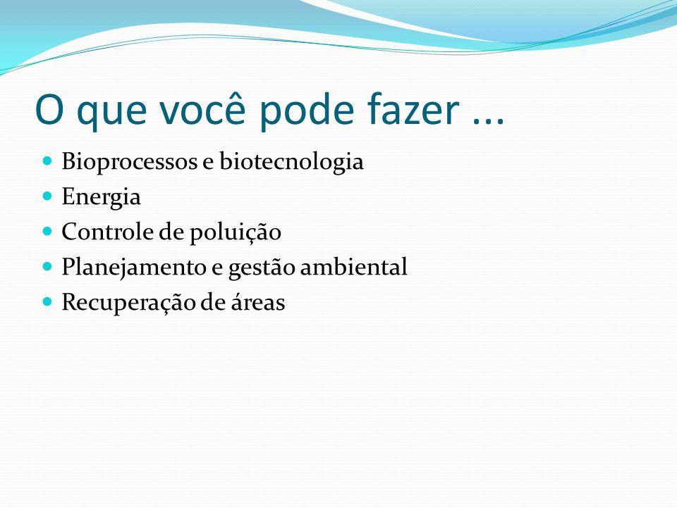 O que você pode fazer... Bioprocessos e biotecnologia Energia Controle de poluição Planejamento e gestão ambiental Recuperação de áreas