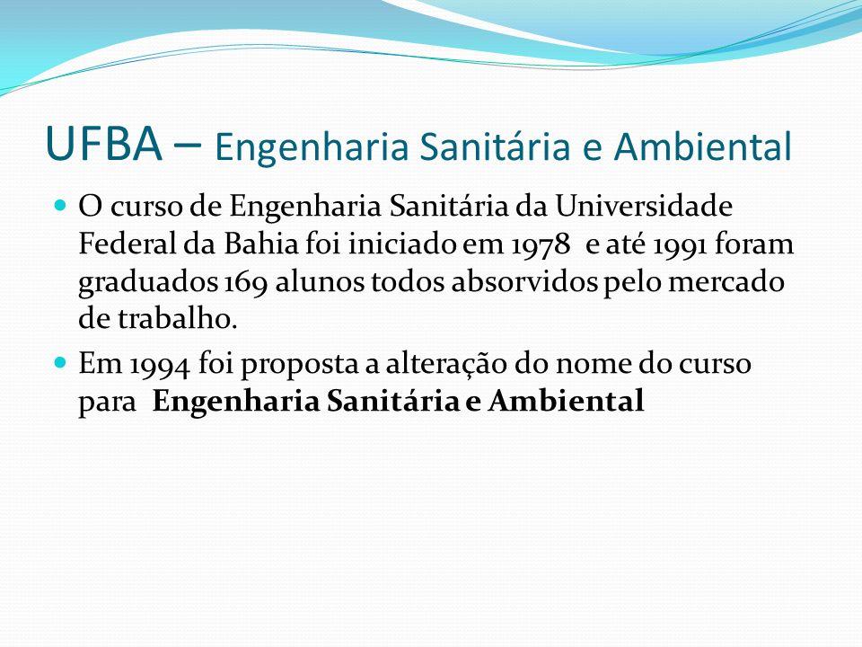 UFBA – Engenharia Sanitária e Ambiental O curso de Engenharia Sanitária da Universidade Federal da Bahia foi iniciado em 1978 e até 1991 foram graduad