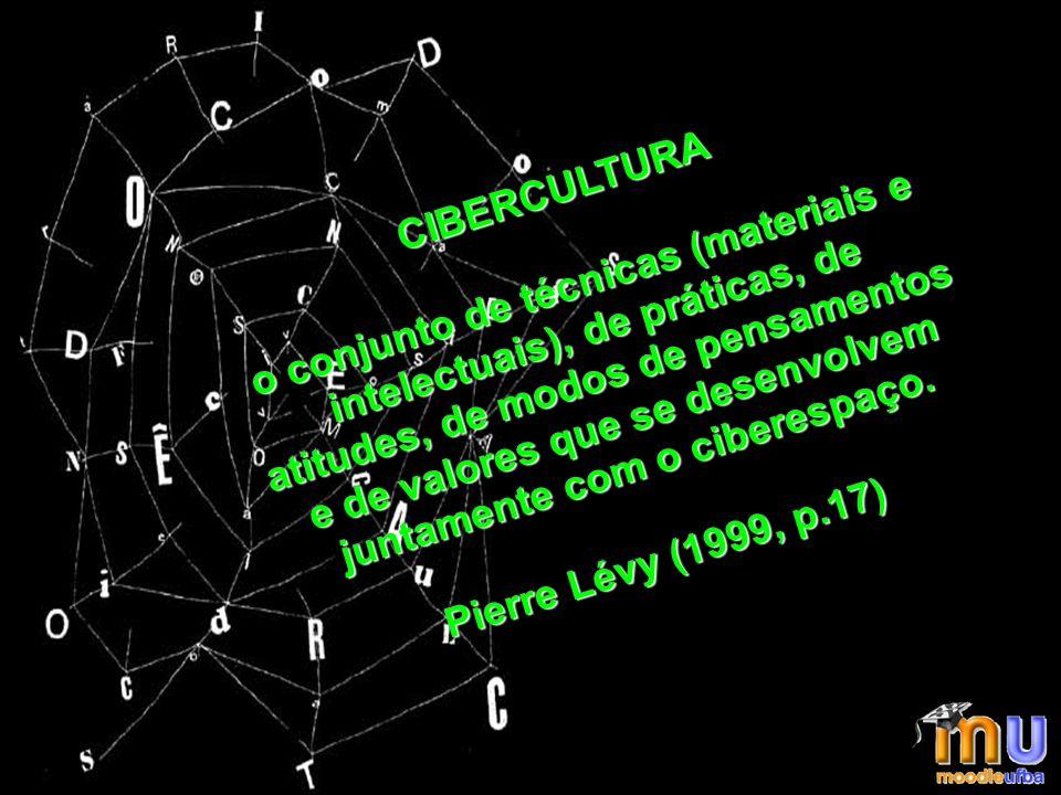 CIBERCULTURA o conjunto de técnicas (materiais e intelectuais), de práticas, de atitudes, de modos de pensamentos e de valores que se desenvolvem juntamente com o ciberespaço.