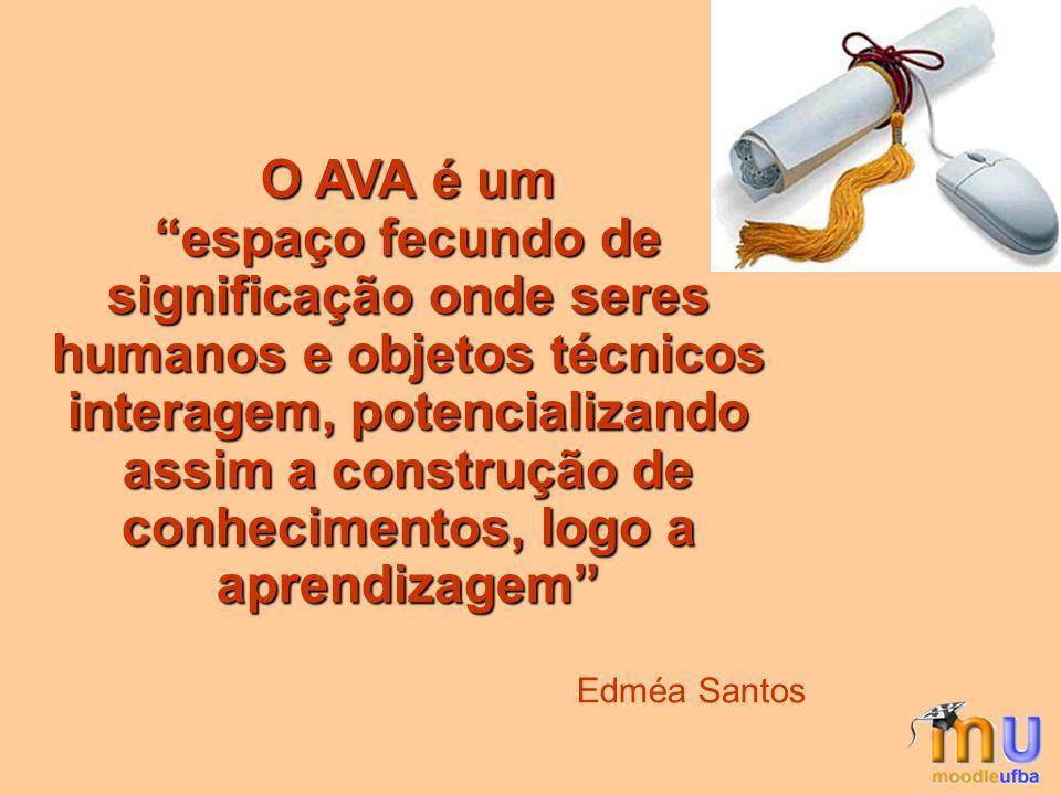 O AVA é um espaço fecundo de significação onde seres humanos e objetos técnicos interagem, potencializando assim a construção de conhecimentos, logo a